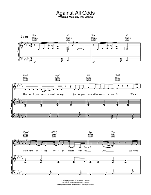 in the air tonight sheet music pdf