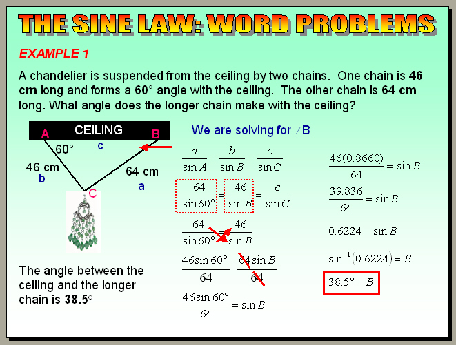 pdf word problems sin cos law