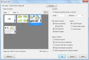 import pdf file no objects imported autocad