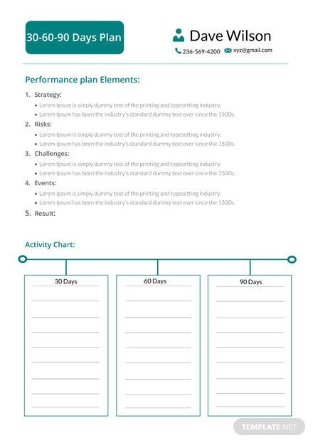 30 60 90 day plan template pdf