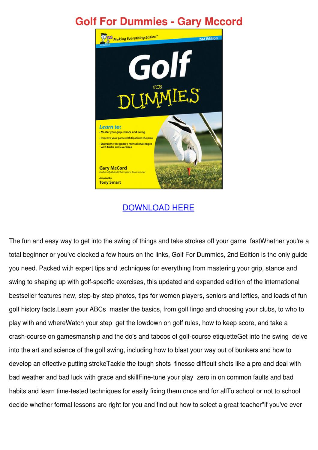 golf for dummies free pdf