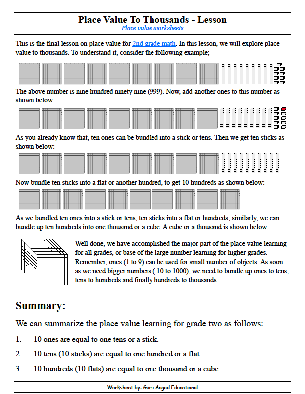 math place value worksheets pdf