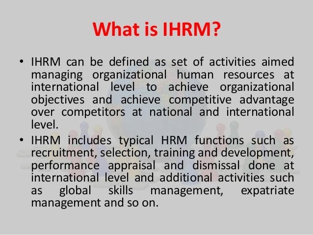 international human resource management notes mba pdf