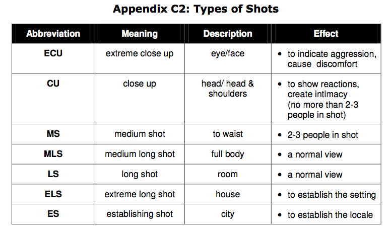 cinematography types of shots pdf