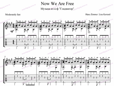 now we are free gladiator guitar tabs pdf
