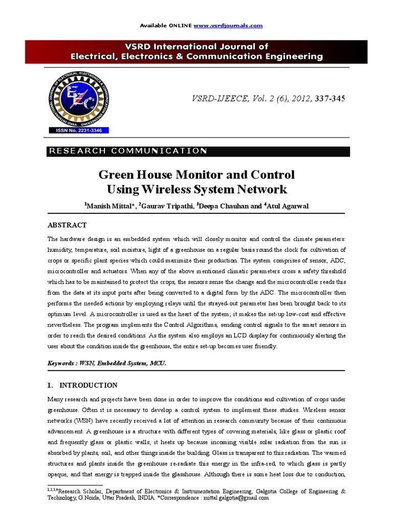 monitor and control of greenhouse environment pdf
