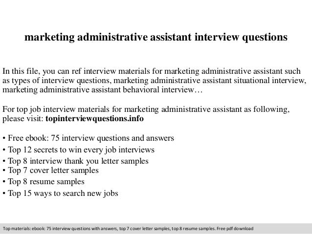 marketing assistant interview questions pdf