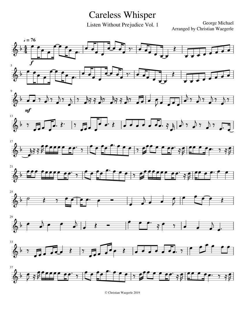 careless whisper sheet music pdf