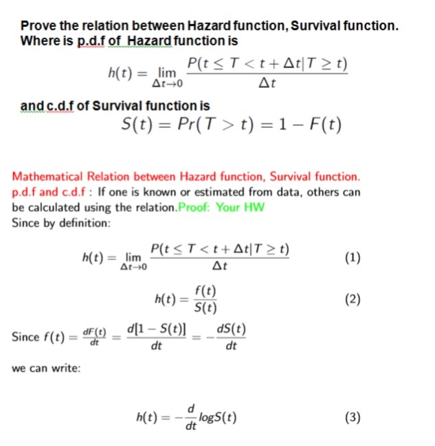 survival function a cdf or pdf