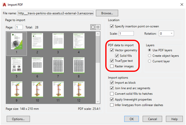 how to import pdf image to autocad