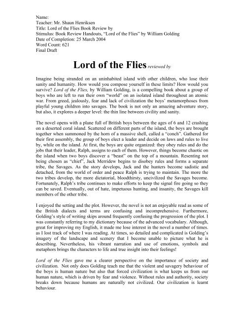 lord of the flies free pdf