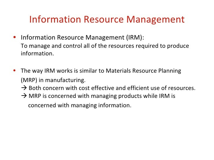 managing the information technology resource notes pdf
