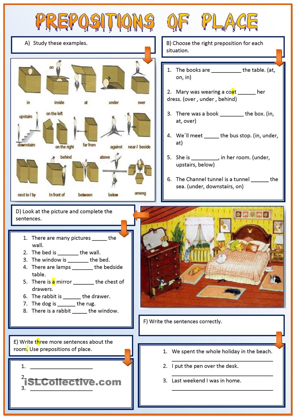 prepositions of place and direction exercises pdf